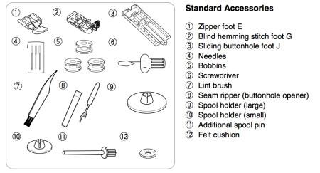 Janome 7318 Accessories