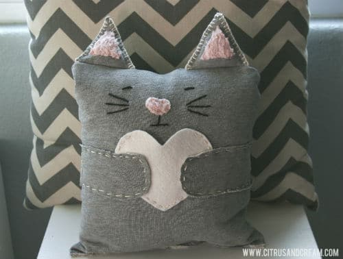 chevron cat pillow