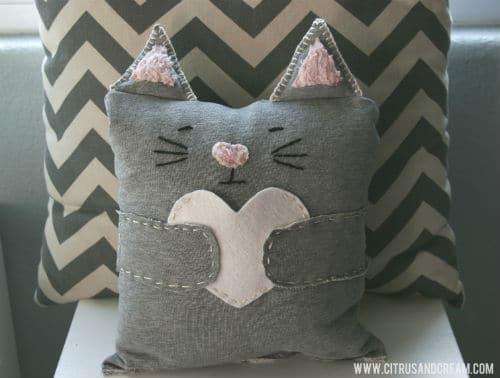 chevron cat pillow