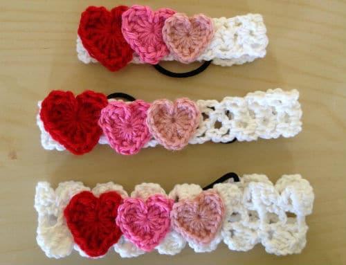crochet hearts headband