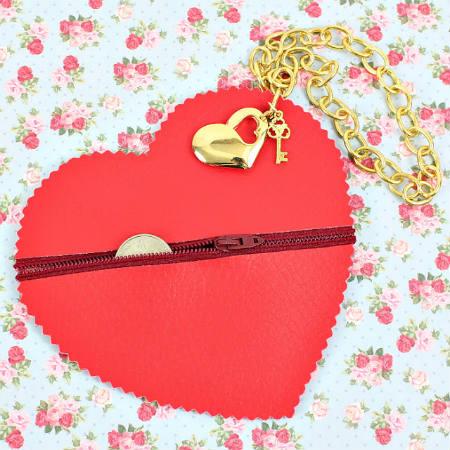 no sew heart coin purse
