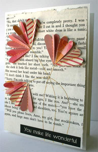 paper hearts flower card