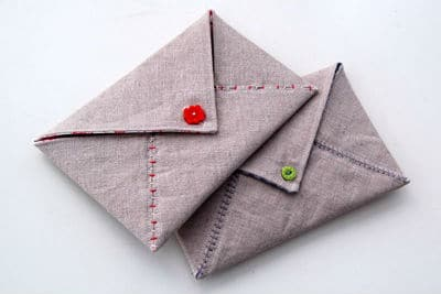 sewn card and envelopes
